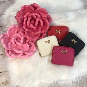 Handbags - Wallet coin purse vegan saffiano leather gold bow